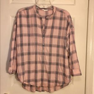 Lucky Brand plaid 1/2 button up pullover tunic